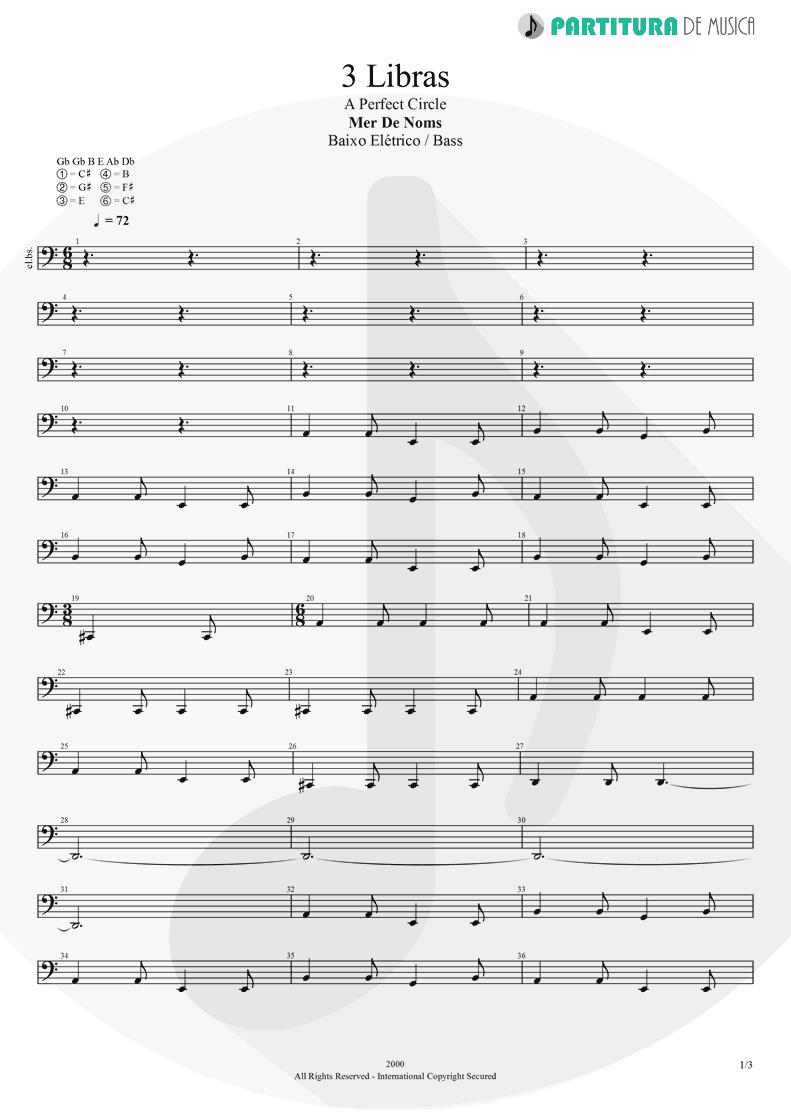 Partitura de musica de Baixo Elétrico - 3 Libras | A Perfect Circle | Mer de Noms 2000 - pag 1