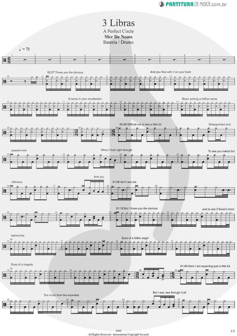Partitura de musica de Bateria - 3 Libras | A Perfect Circle | Mer de Noms 2000 - pag 1