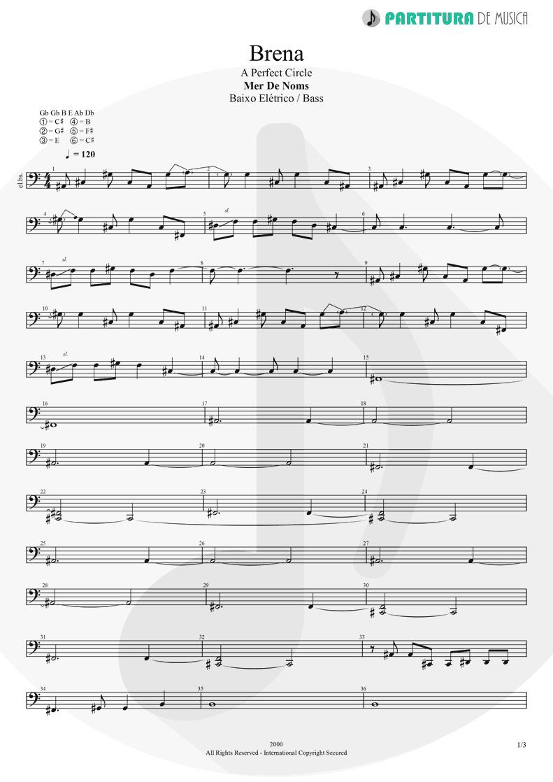 Partitura de musica de Baixo Elétrico - Brena | A Perfect Circle | Mer de Noms 2000 - pag 1