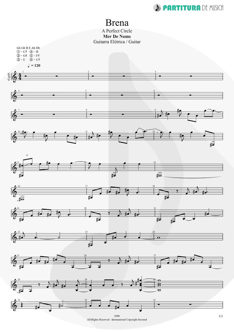 Partitura de musica de Guitarra Elétrica - Brena | A Perfect Circle | Mer de Noms 2000 - pag 1