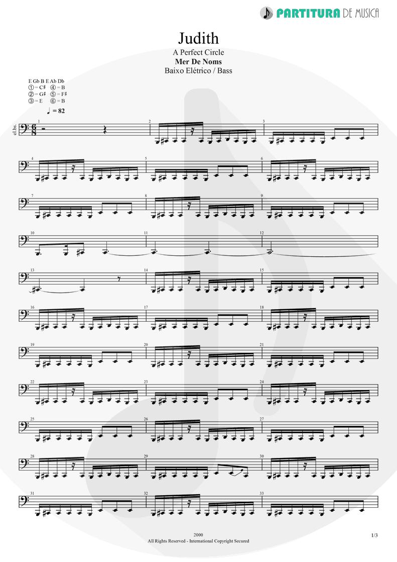 Partitura de musica de Baixo Elétrico - Judith   A Perfect Circle   Mer de Noms 2000 - pag 1
