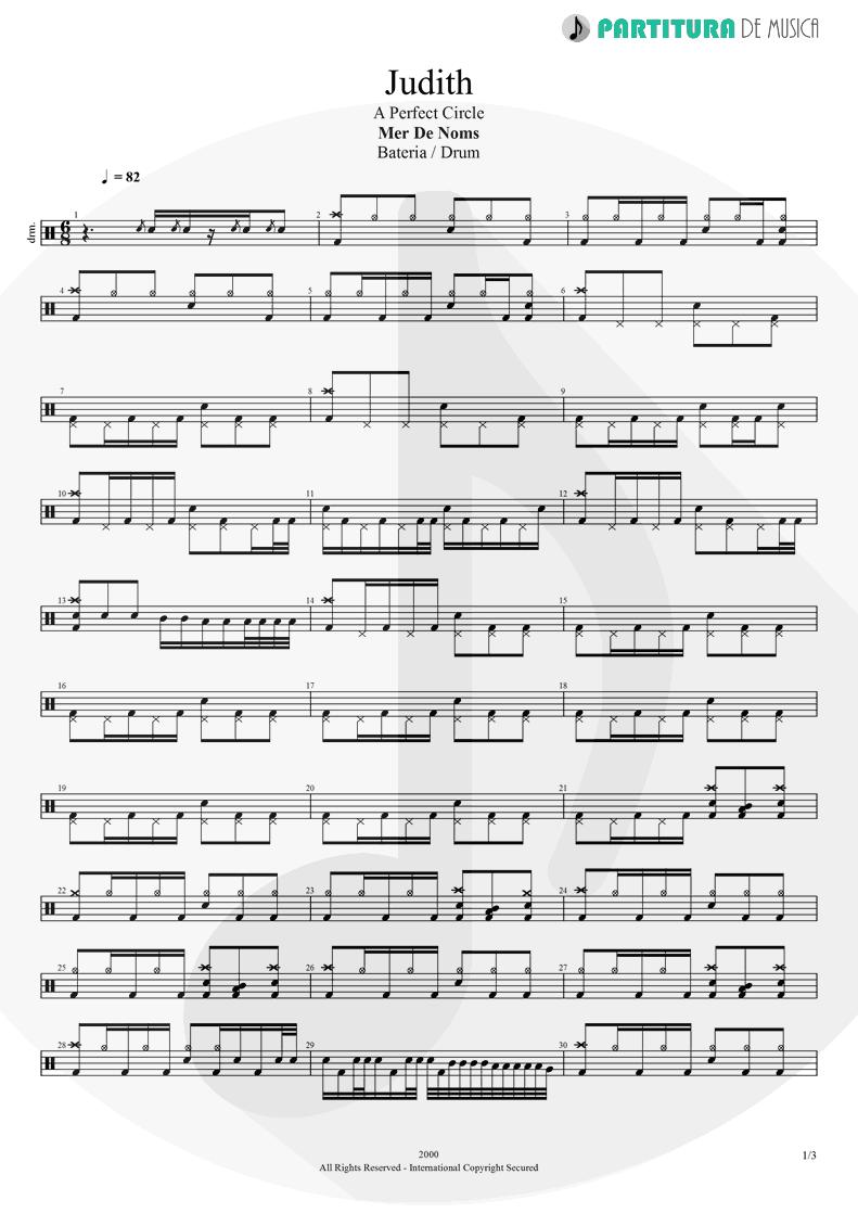 Partitura de musica de Bateria - Judith | A Perfect Circle | Mer de Noms 2000 - pag 1