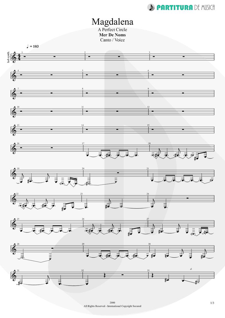 Partitura de musica de Canto - Magdalena | A Perfect Circle | Mer de Noms 2000 - pag 1