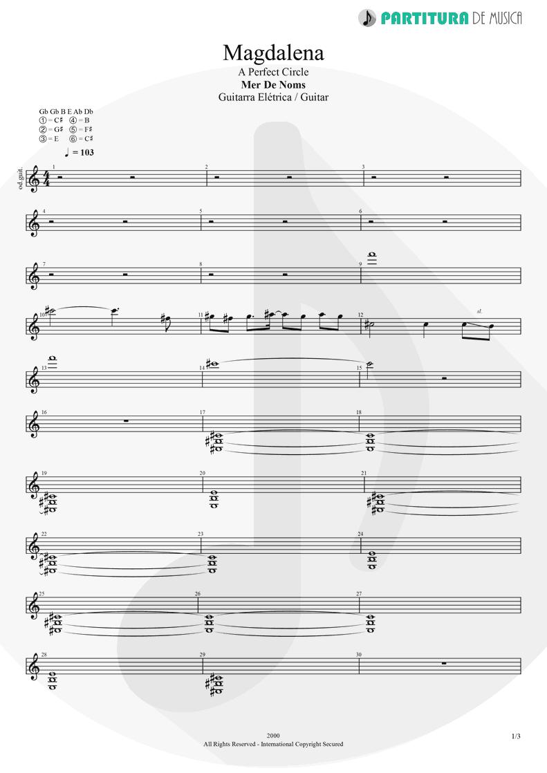 Partitura de musica de Guitarra Elétrica - Magdalena | A Perfect Circle | Mer de Noms 2000 - pag 1