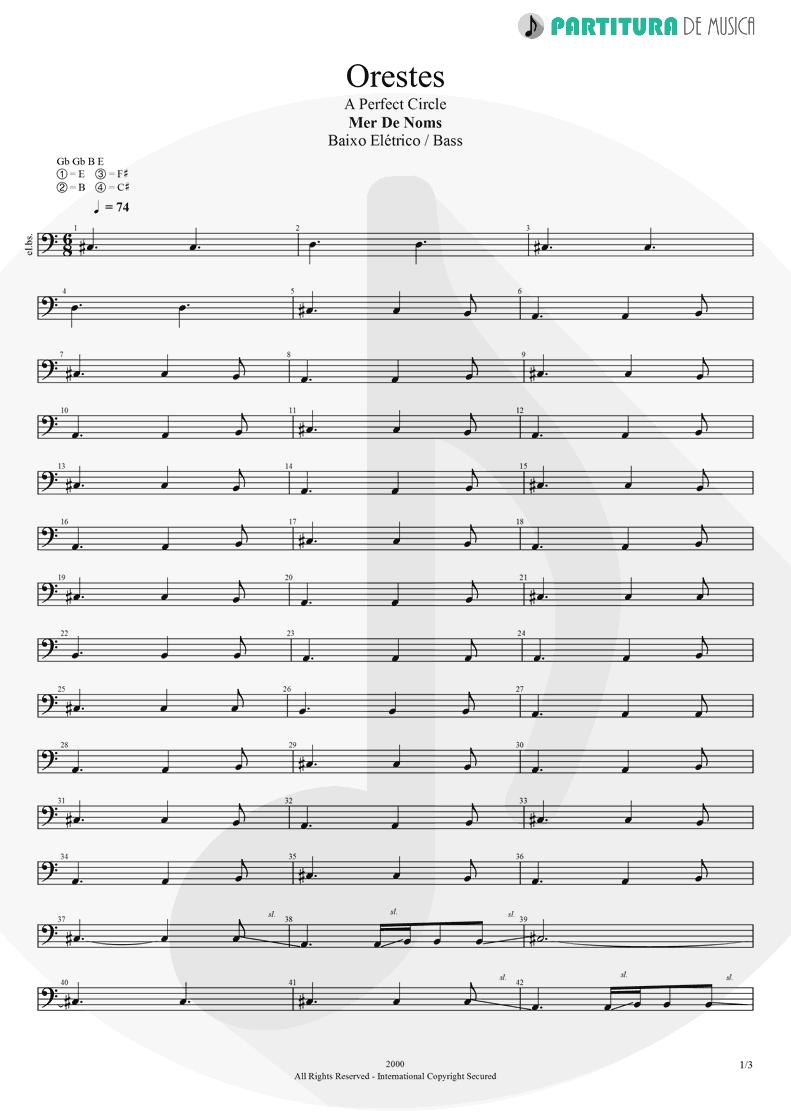 Partitura de musica de Baixo Elétrico - Orestes | A Perfect Circle | Mer de Noms 2000 - pag 1