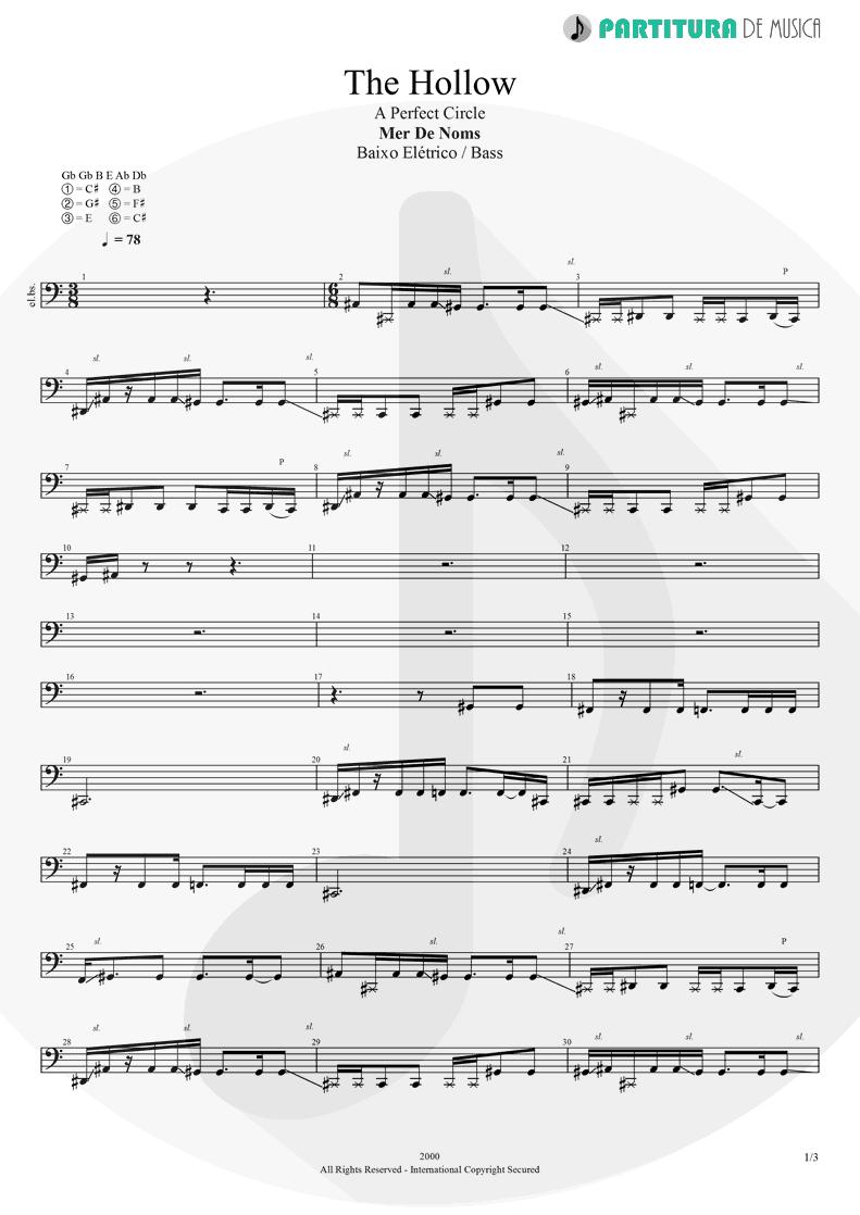 Partitura de musica de Baixo Elétrico - The Hollow | A Perfect Circle | Mer de Noms 2000 - pag 1