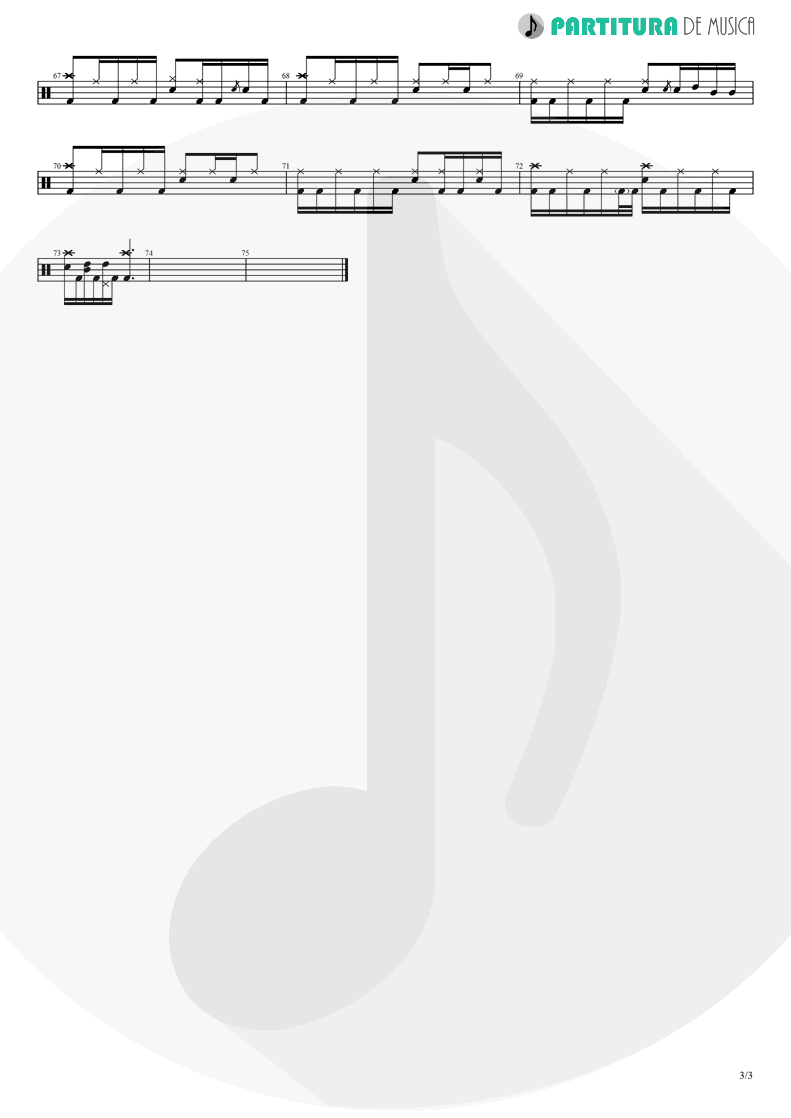 Partitura de musica de Bateria - The Hollow | A Perfect Circle | Mer de Noms 2000 - pag 3