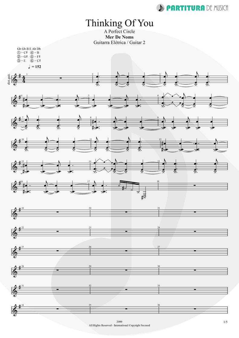 Partitura de musica de Guitarra Elétrica - Thinking Of You | A Perfect Circle | Mer de Noms 2000 - pag 1