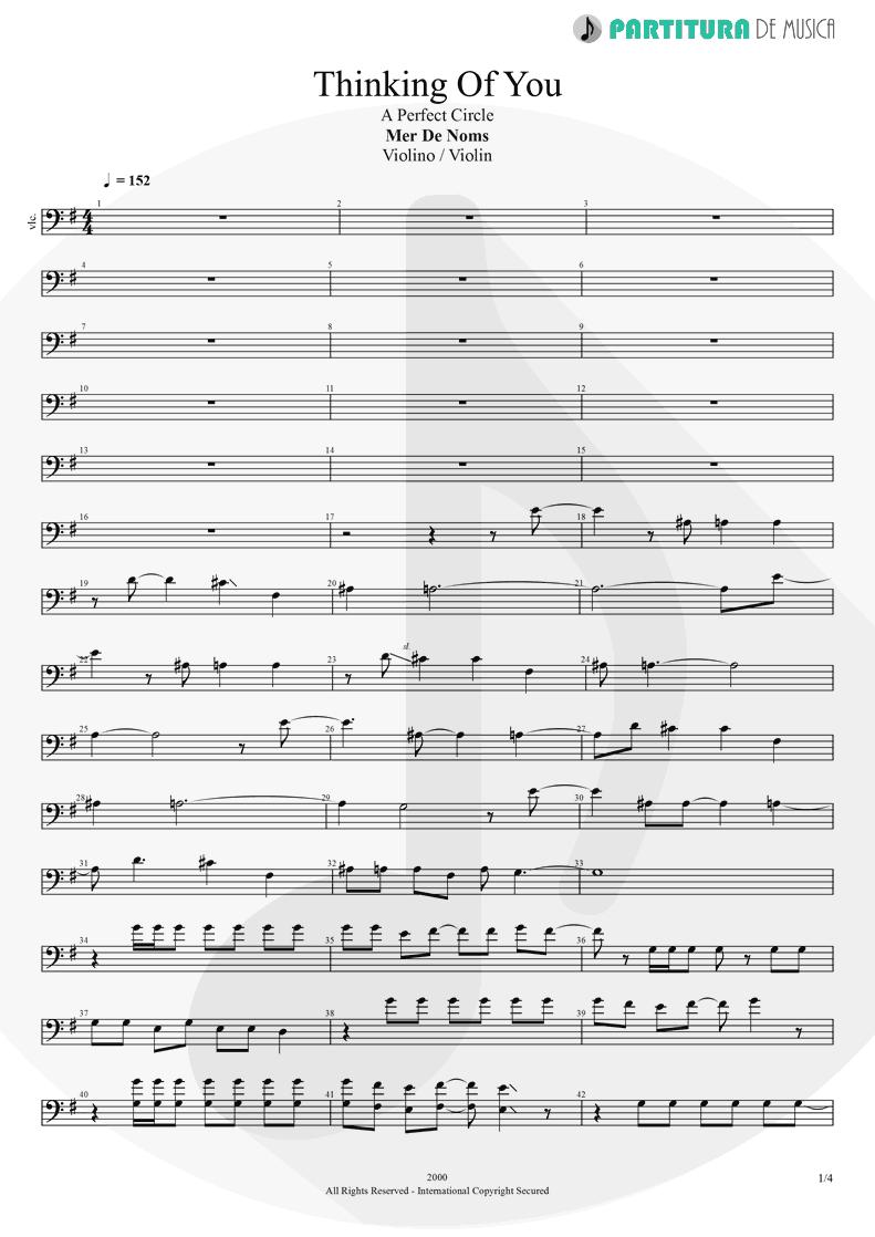 Partitura de musica de Violino - Thinking Of You | A Perfect Circle | Mer de Noms 2000 - pag 1