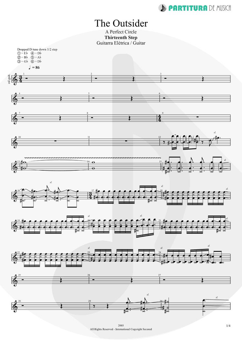 Partitura de musica de Guitarra Elétrica - The Outsider   A Perfect Circle   Thirteenth Step 2003 - pag 1