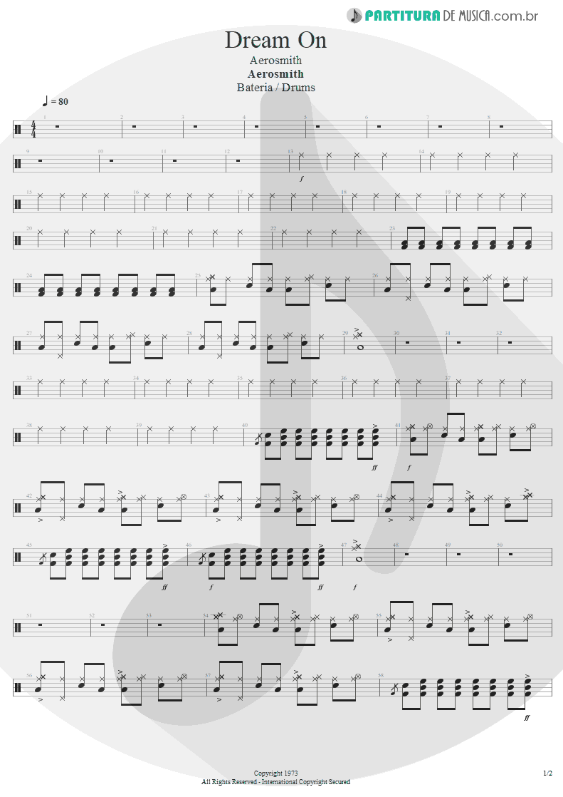 Partitura de musica de Bateria - Dream On | Aerosmith | Aerosmith 1973 - pag 1