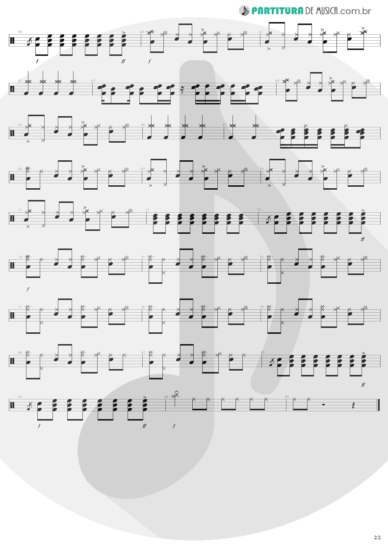 Partitura de musica de Bateria - Dream On | Aerosmith | Aerosmith 1973 - pag 2