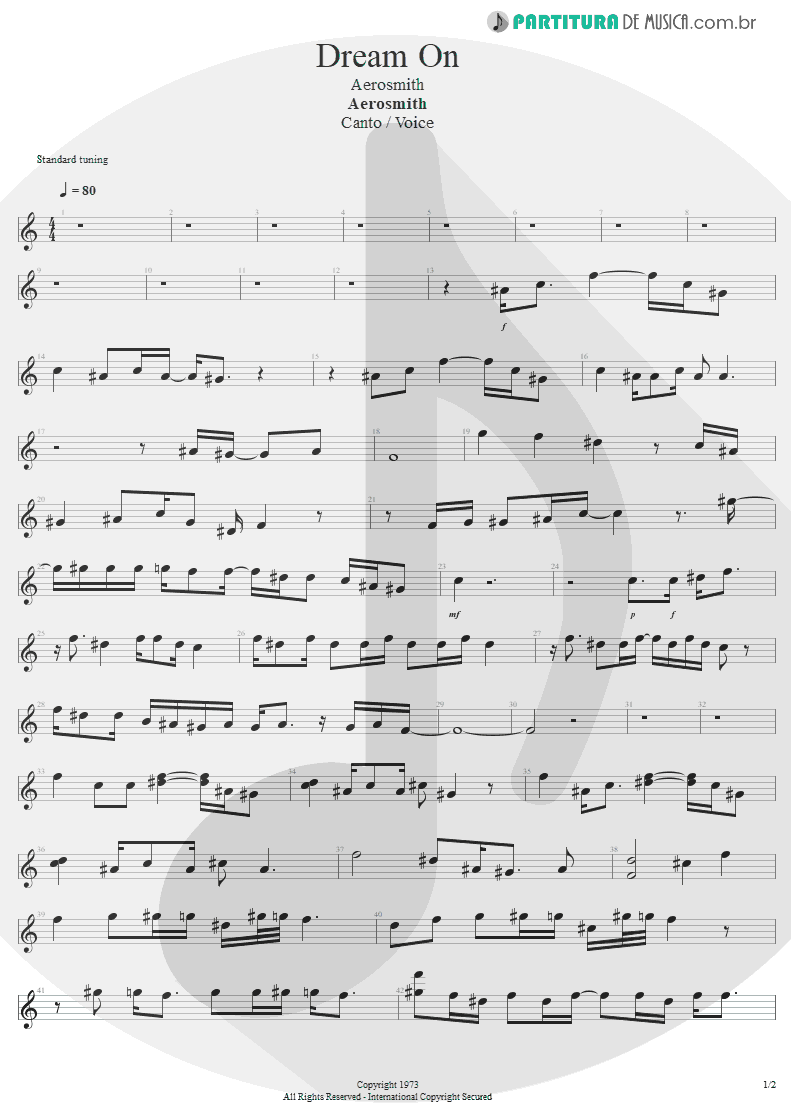 Partitura de musica de Canto - Dream On | Aerosmith | Aerosmith 1973 - pag 1