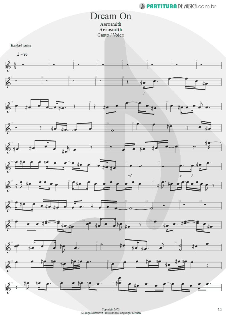 Partitura de musica de Canto - Dream On | Aerosmith | Aerosmith 1973 - pag 1