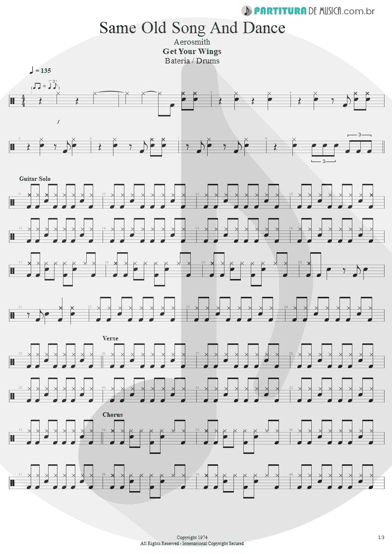 Partitura de musica de Bateria - Same Old Song And Dance | Aerosmith | Get Your Wings 1974 - pag 1