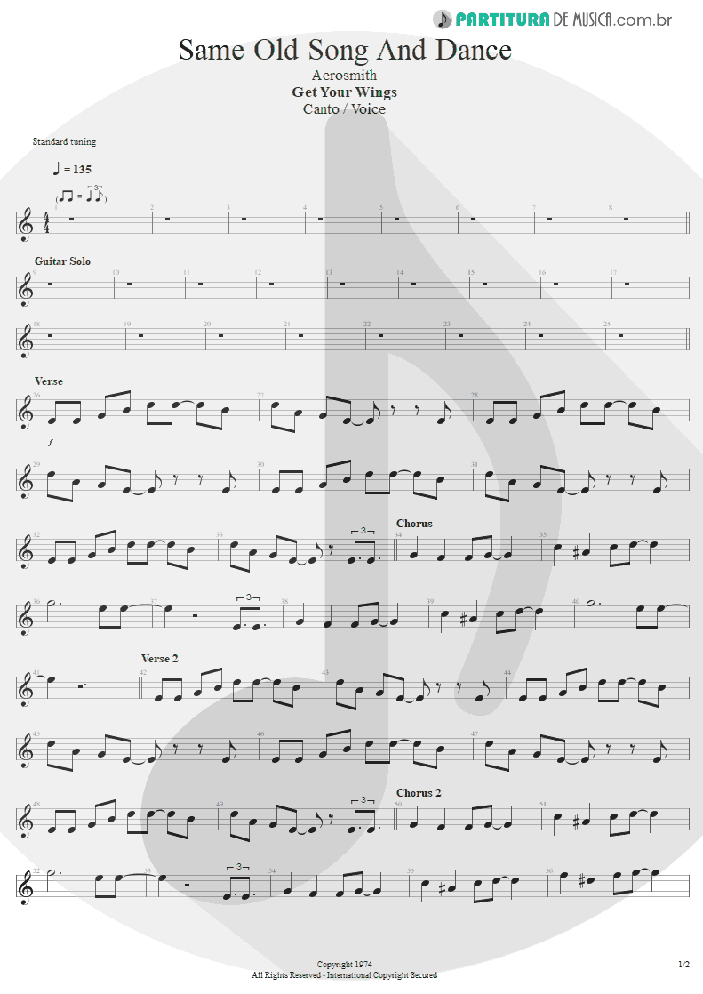 Partitura de musica de Canto - Same Old Song And Dance | Aerosmith | Get Your Wings 1974 - pag 1