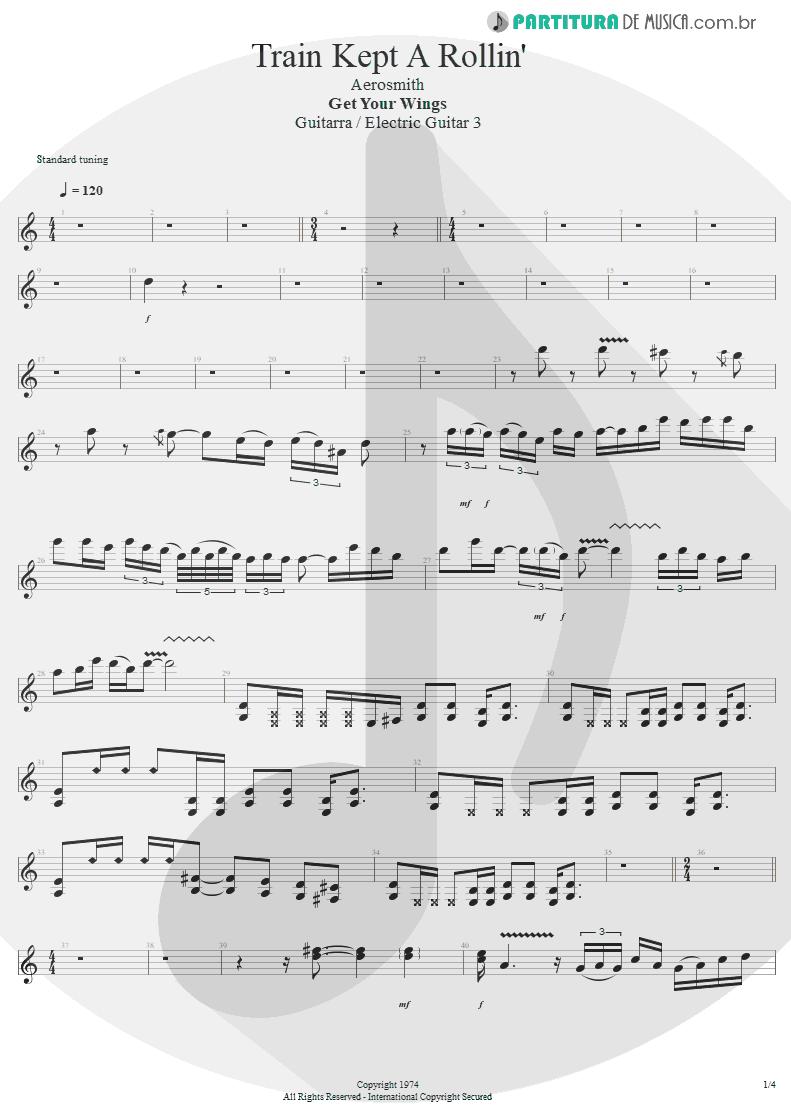 Partitura de musica de Guitarra Elétrica - Train Kept A Rollin' | Aerosmith | Get Your Wings 1974 - pag 1