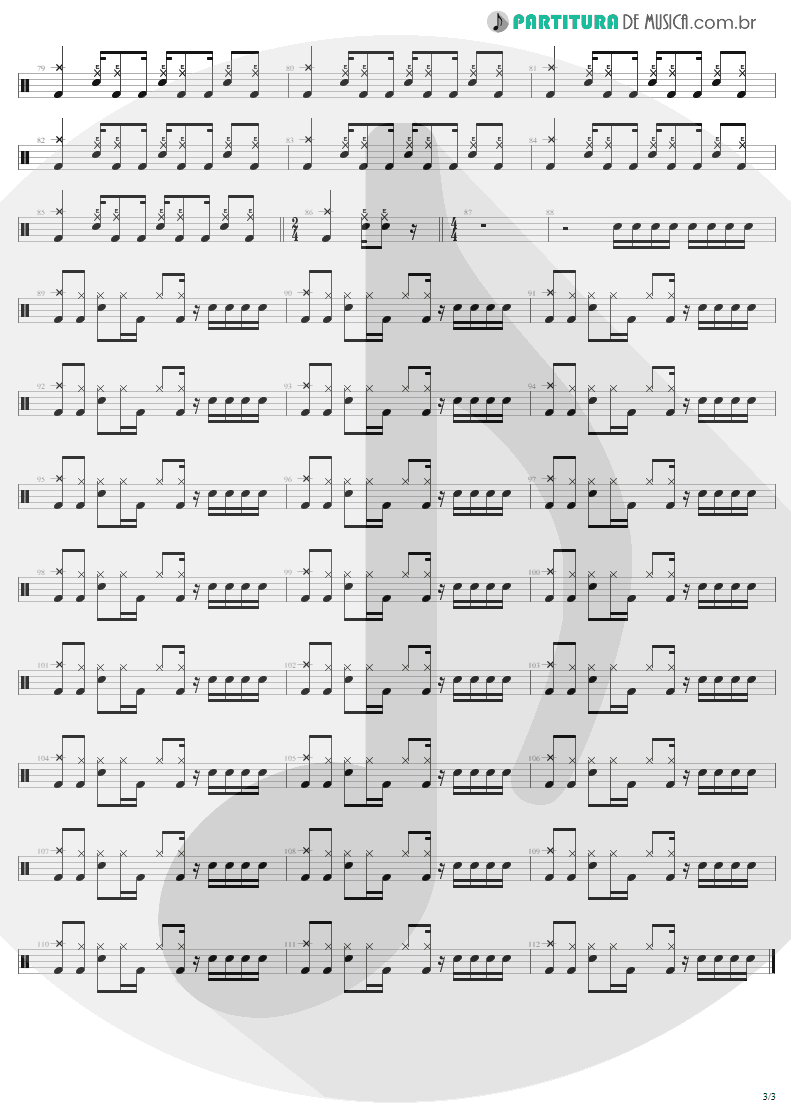 Partitura de musica de Bateria - Sweet Emotion | Aerosmith | Toys In The Attic 1975 - pag 3