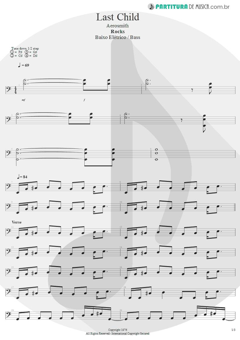 Partitura de musica de Baixo Elétrico - Last Child | Aerosmith | Rocks 1976 - pag 1