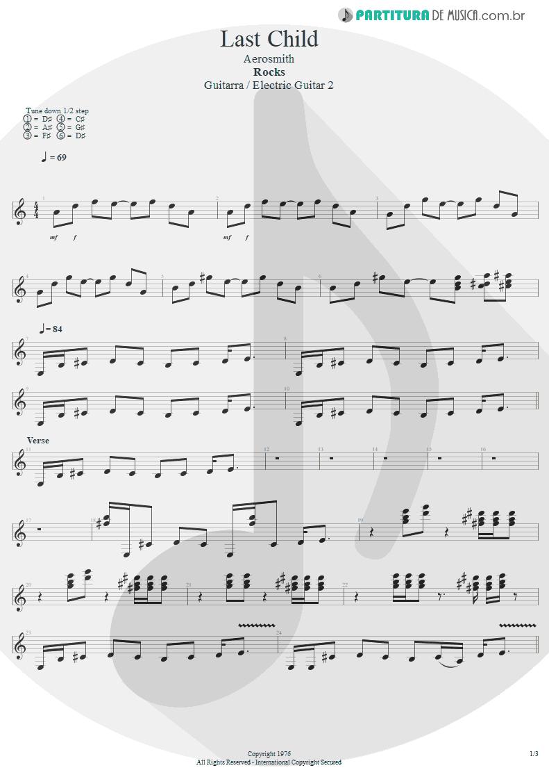 Partitura de musica de Guitarra Elétrica - Last Child | Aerosmith | Rocks 1976 - pag 1