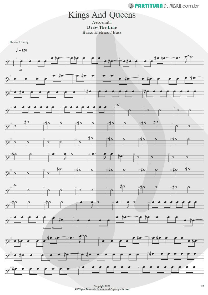 Partitura de musica de Baixo Elétrico - Kings and Queens | Aerosmith | Draw the Line 1977 - pag 1