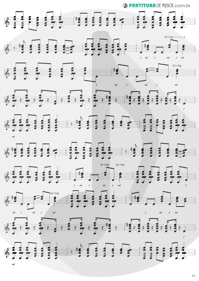Partitura de musica de Guitarra Elétrica - Dude Looks Like A Lady | Aerosmith | Permanent Vacation 1987 - pag 2