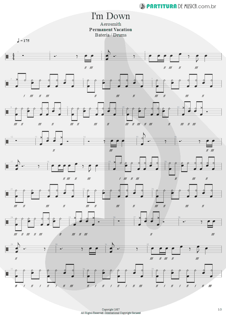 Partitura de musica de Bateria - I'm Down | Aerosmith | Permanent Vacation 1987 - pag 1