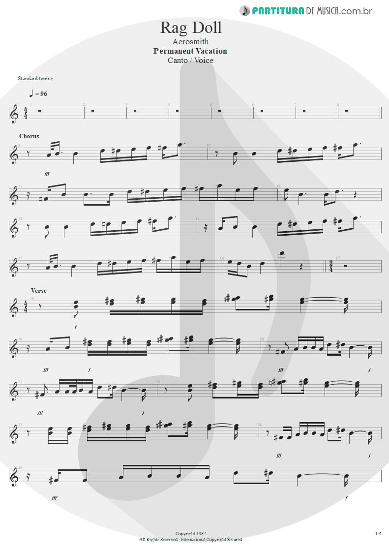 Partitura de musica de Canto - Rag Doll | Aerosmith | Permanent Vacation 1987 - pag 1