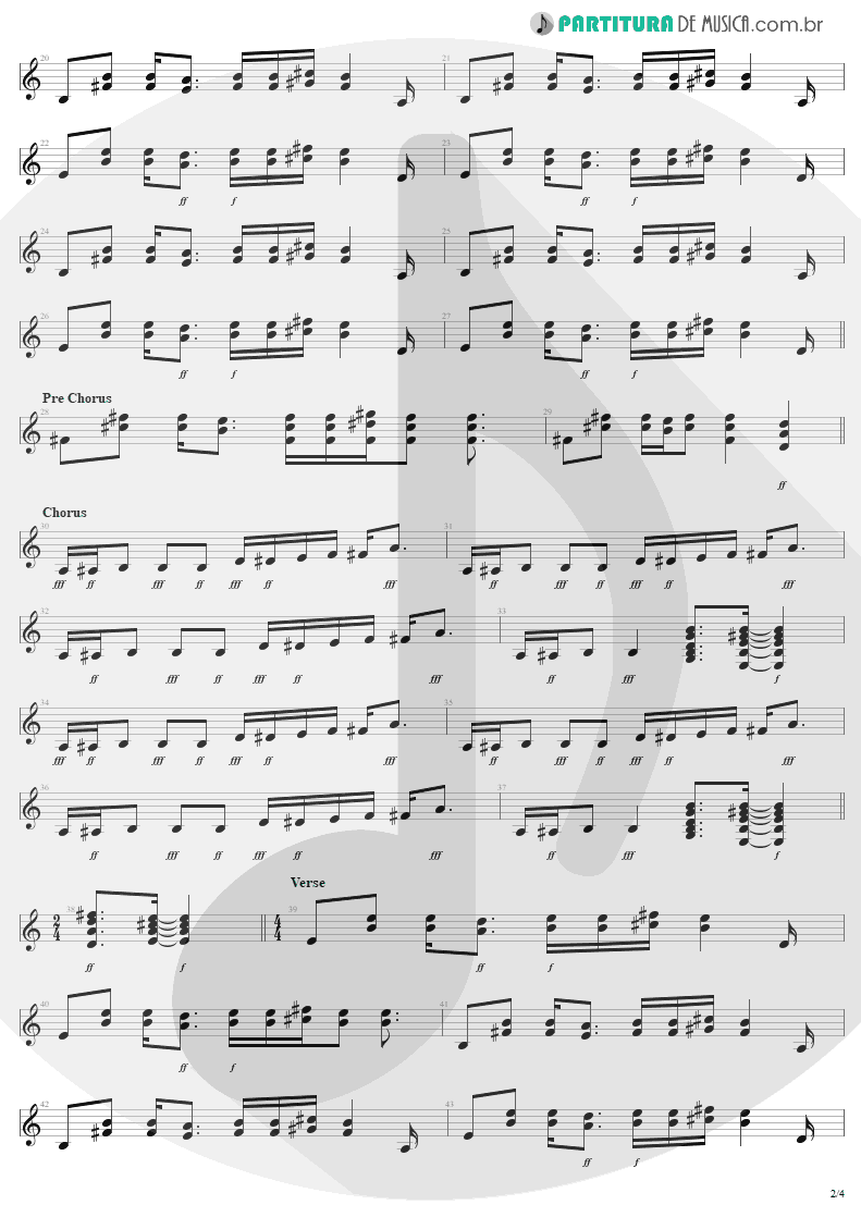 Partitura de musica de Guitarra Elétrica - Rag Doll | Aerosmith | Permanent Vacation 1987 - pag 2