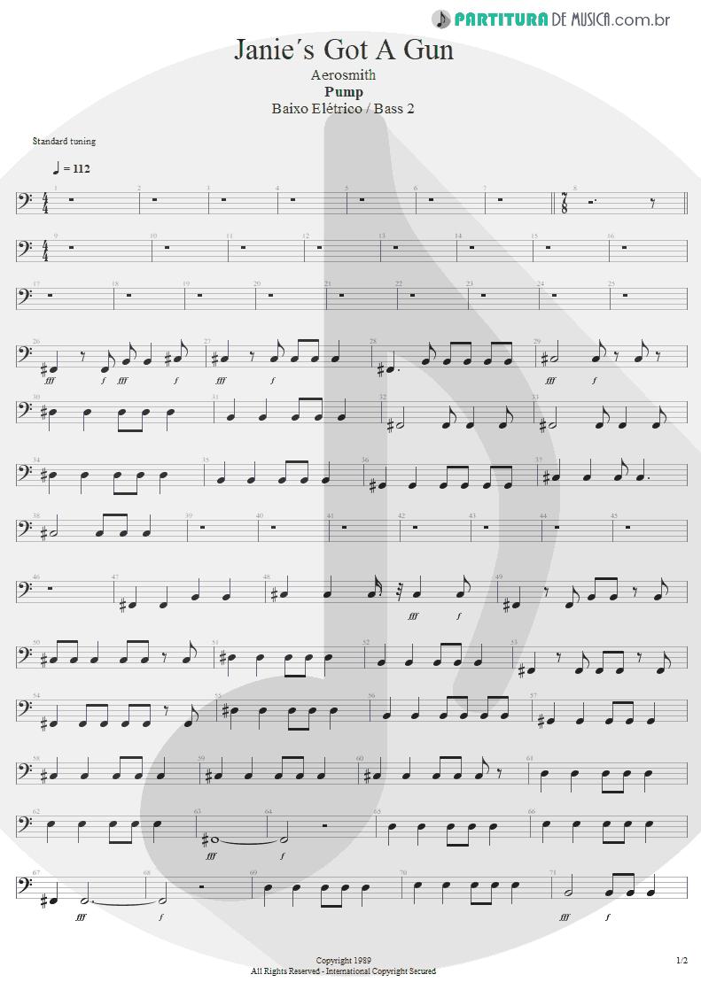 Partitura de musica de Baixo Elétrico - Water Song - Janie's Got A Gun | Aerosmith | Pump 1989 - pag 1