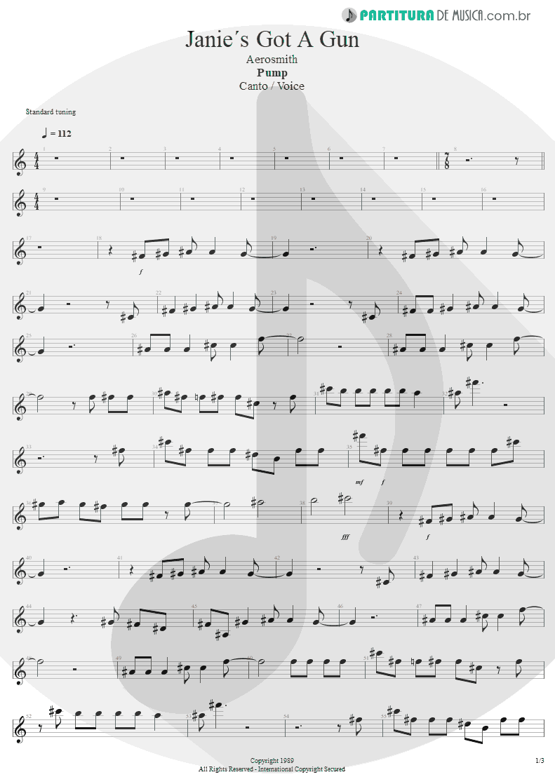 Partitura de musica de Canto - Water Song - Janie's Got A Gun | Aerosmith | Pump 1989 - pag 1