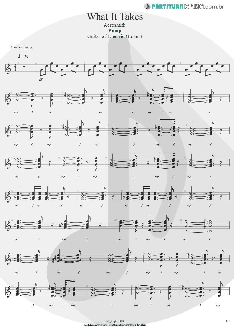 Partitura de musica de Guitarra Elétrica - What It Takes | Aerosmith | Pump 1989 - pag 1