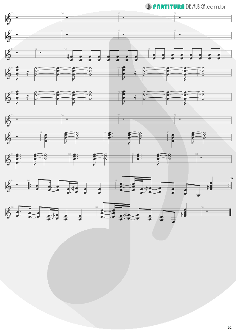 Partitura de musica de Guitarra Elétrica - Eat The Rich | Aerosmith | Get A Grip 1993 - pag 2