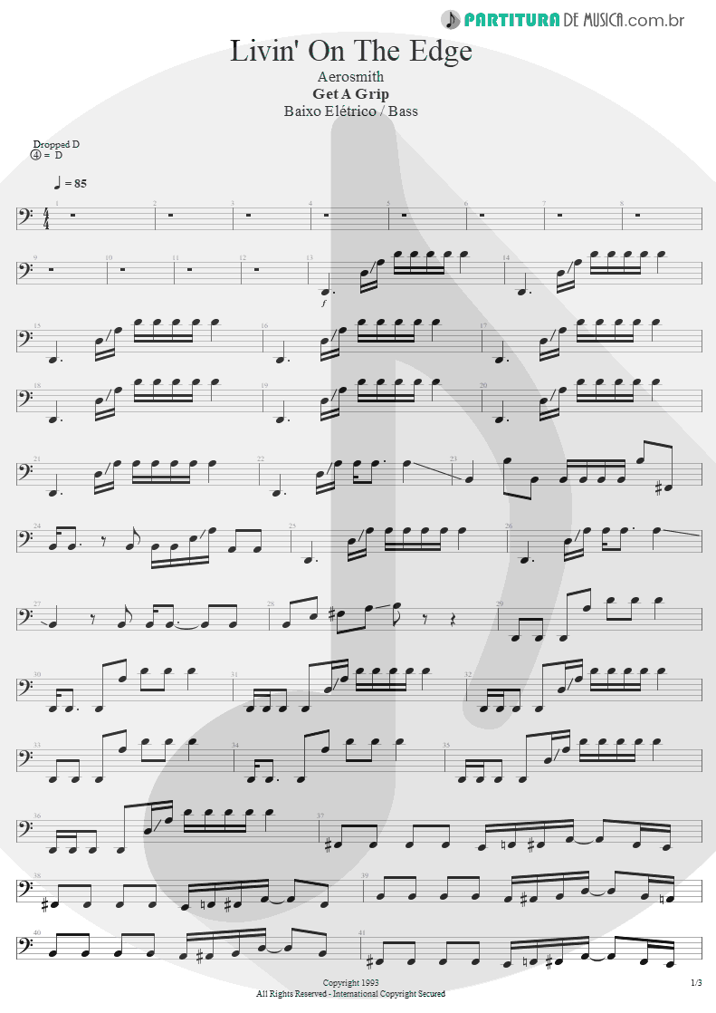 Partitura de musica de Baixo Elétrico - Livin' On The Edge | Aerosmith | Get A Grip 1993 - pag 1