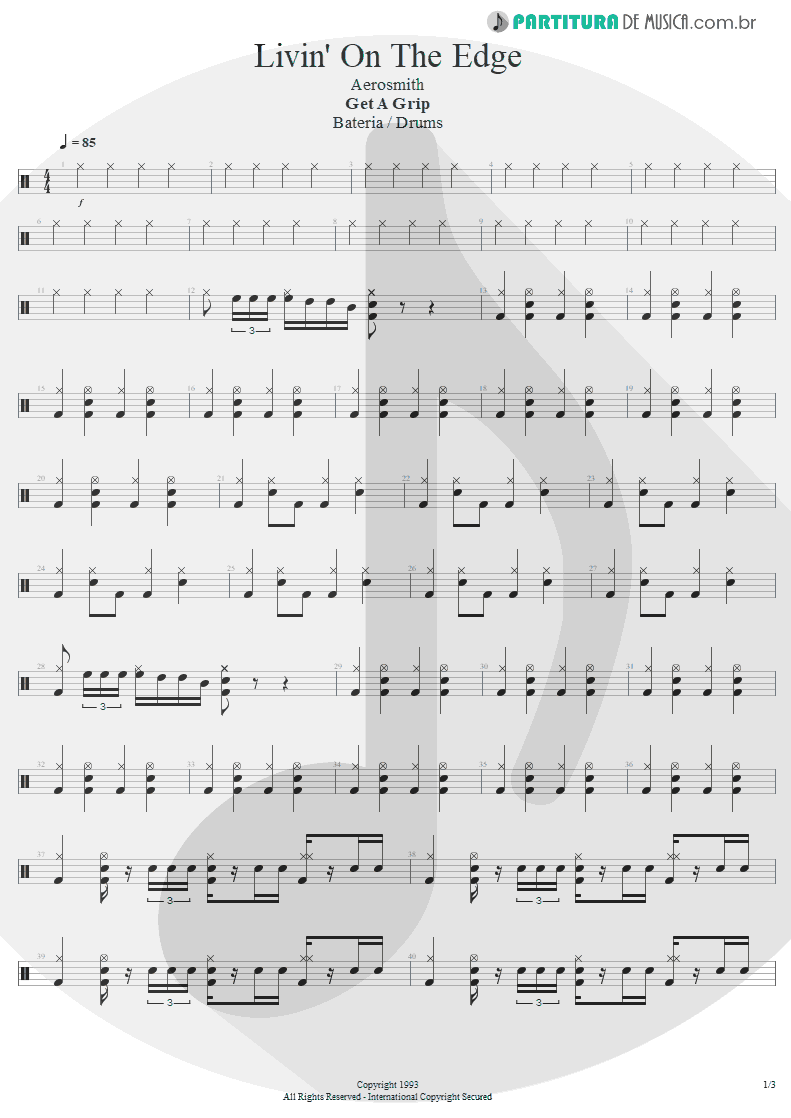 Partitura de musica de Bateria - Livin' On The Edge | Aerosmith | Get A Grip 1993 - pag 1