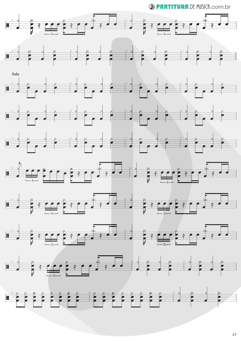 Partitura de musica de Bateria - Livin' On The Edge | Aerosmith | Get A Grip 1993 - pag 2