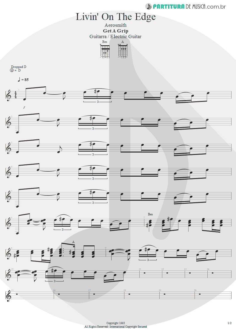 Partitura de musica de Guitarra Elétrica - Livin' On The Edge | Aerosmith | Get A Grip 1993 - pag 1