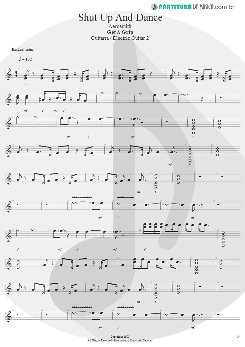 Partitura de musica de Guitarra Elétrica - Shut Up And Dance | Aerosmith | Get A Grip 1993 - pag 1