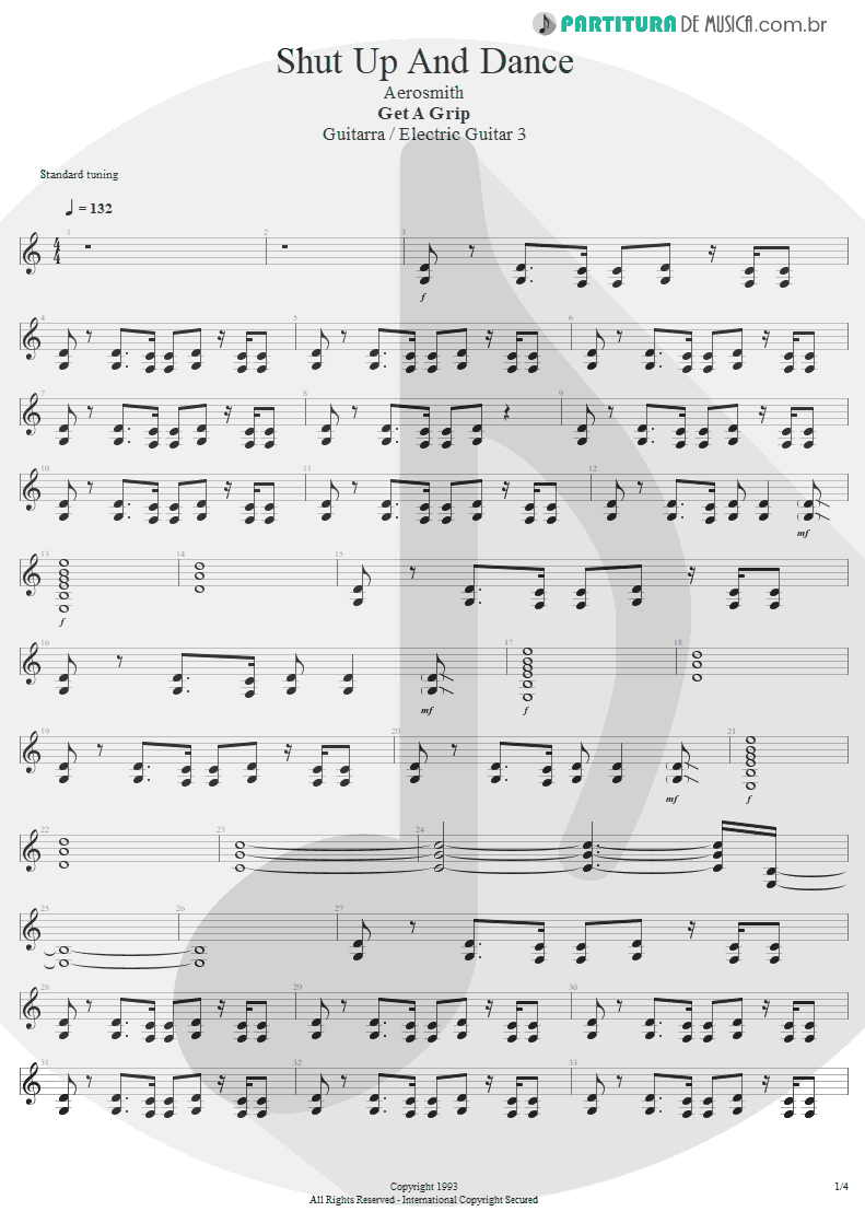 Partitura de musica de Guitarra Elétrica - Shut Up And Dance | Aerosmith | Get A Grip 1993 - pag 1