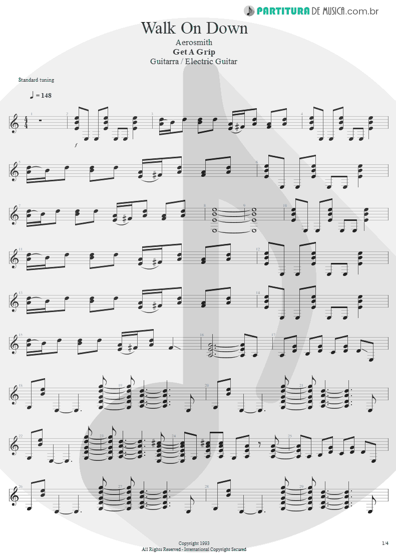 Partitura de musica de Guitarra Elétrica - Walk On Down | Aerosmith | Get A Grip 1993 - pag 1