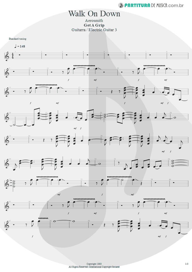 Partitura de musica de Guitarra Elétrica - Walk On Down   Aerosmith   Get A Grip 1993 - pag 1