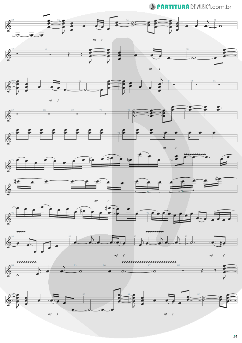 Partitura de musica de Guitarra Elétrica - Walk On Down | Aerosmith | Get A Grip 1993 - pag 2