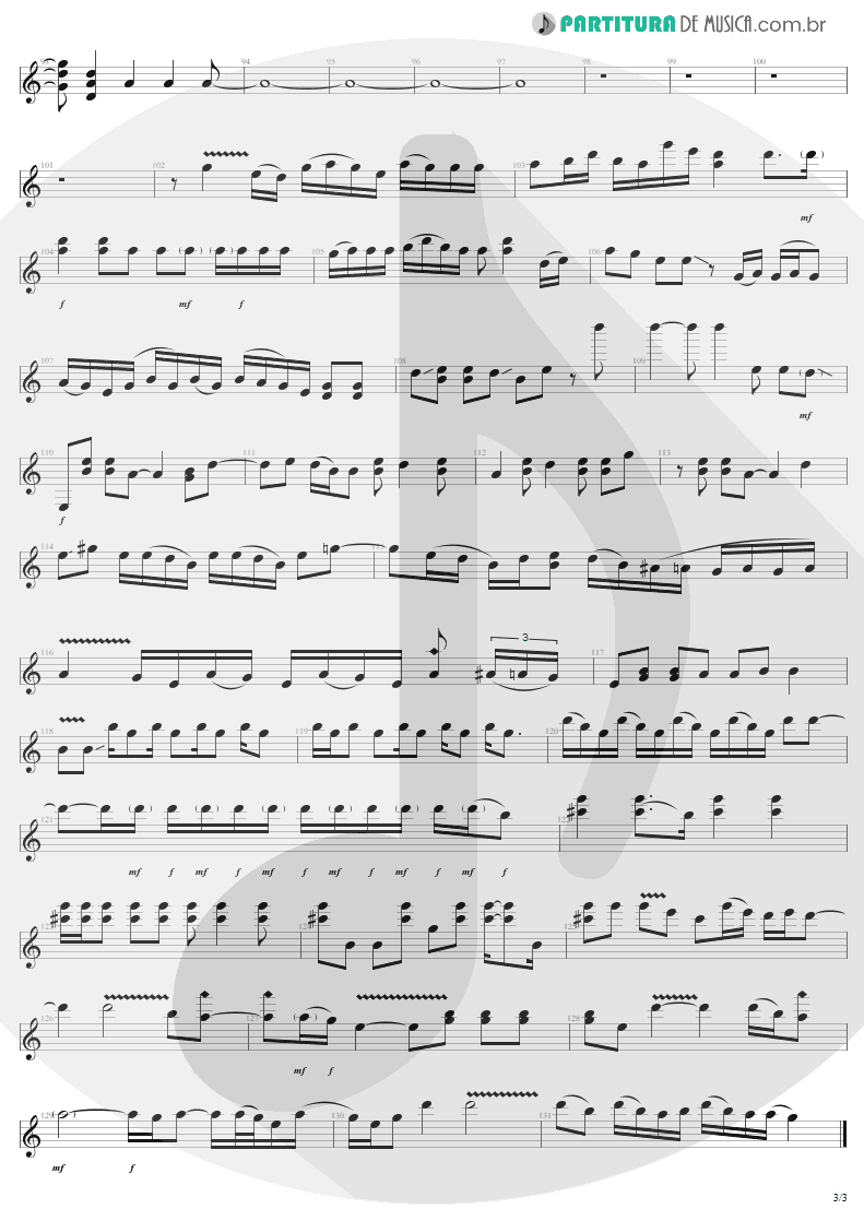 Partitura de musica de Guitarra Elétrica - Walk On Down | Aerosmith | Get A Grip 1993 - pag 3