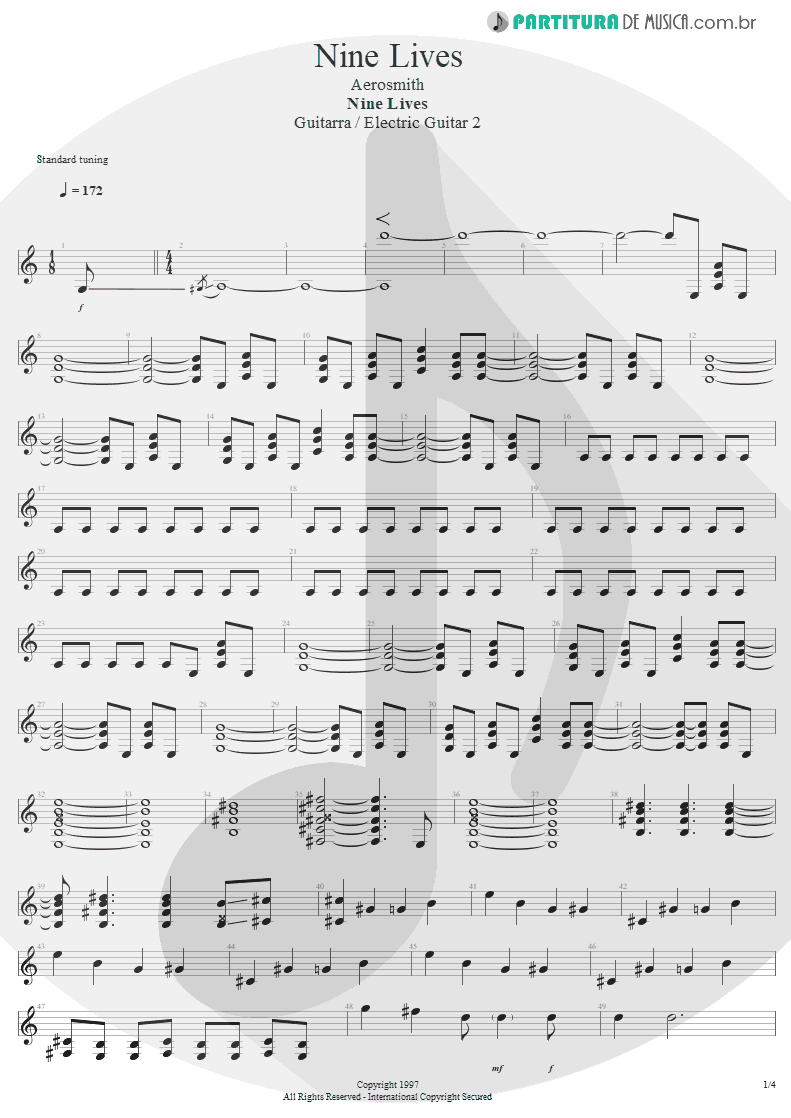 Partitura de musica de Guitarra Elétrica - Nine Lives | Aerosmith | Nine Lives 1997 - pag 1