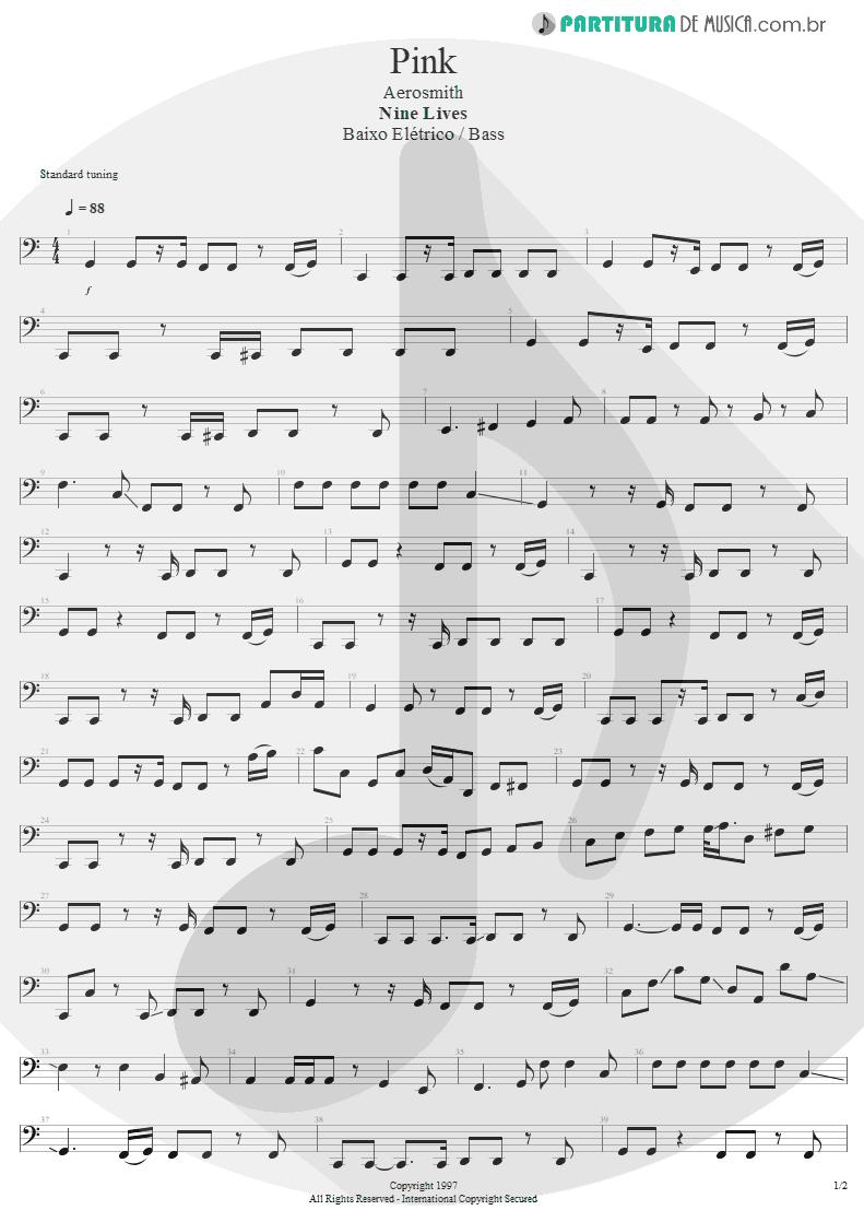 Partitura de musica de Baixo Elétrico - Pink | Aerosmith | Nine Lives 1997 - pag 1