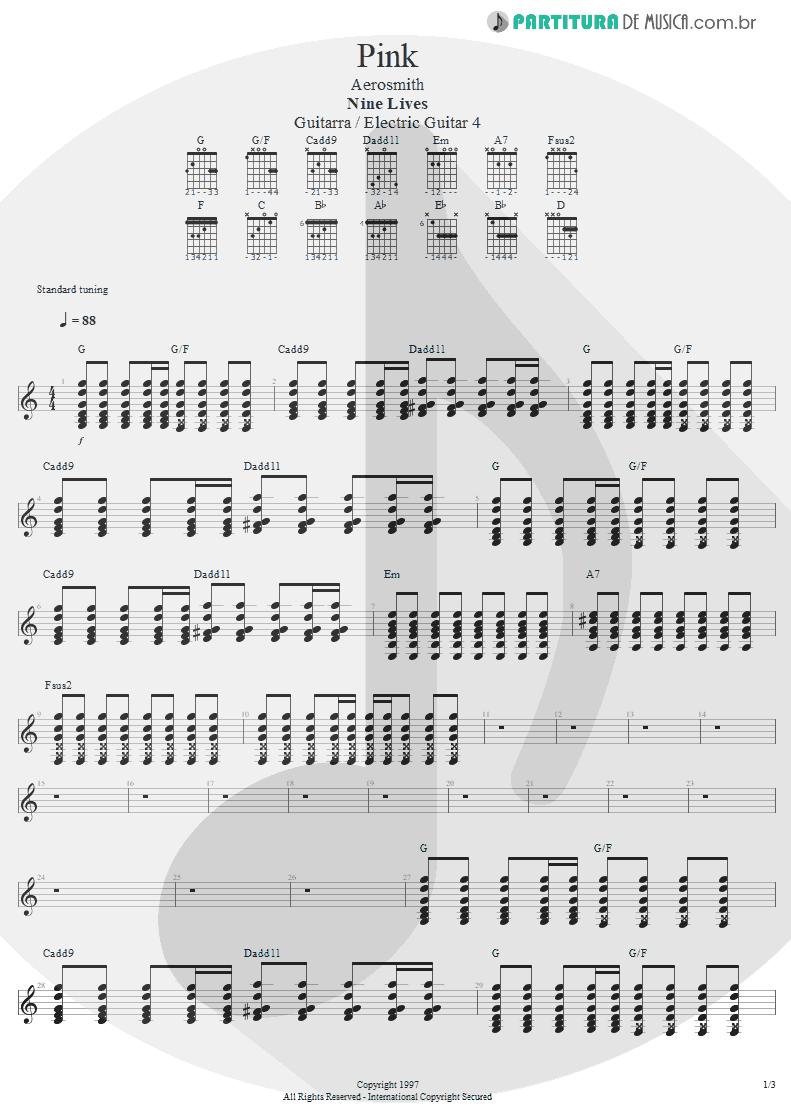 Partitura de musica de Guitarra Elétrica - Pink | Aerosmith | Nine Lives 1997 - pag 1