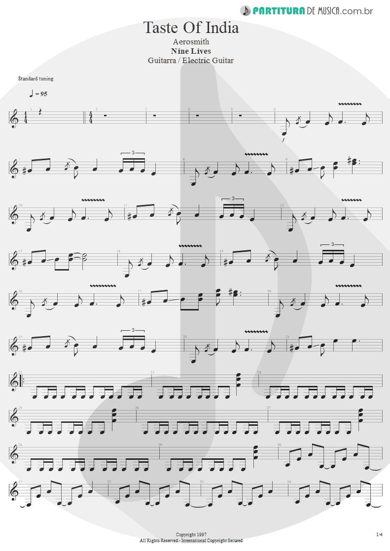 Partitura de musica de Guitarra Elétrica - Taste Of India | Aerosmith | Nine Lives 1997 - pag 1