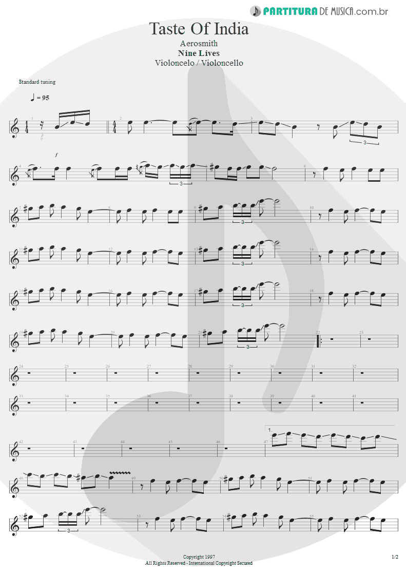 Partitura de musica de Violoncelo - Taste Of India | Aerosmith | Nine Lives 1997 - pag 1