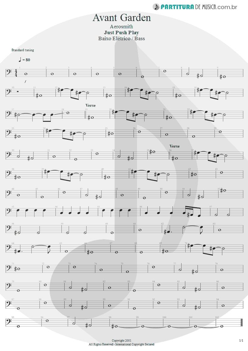 Partitura de musica de Baixo Elétrico - Avant Garden | Aerosmith | Just Push Play 2001 - pag 1