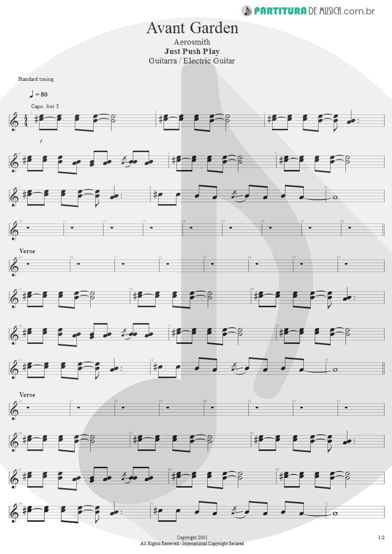 Partitura de musica de Guitarra Elétrica - Avant Garden | Aerosmith | Just Push Play 2001 - pag 1